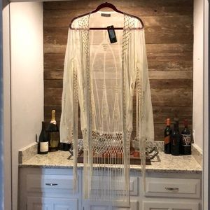 Sheer fringe lace shawl